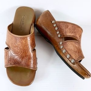 Cole Haan Sandal 6 B Slide Brown Tan Tooled Leathe